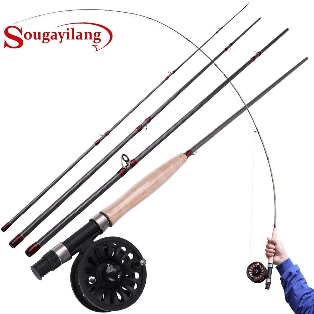 Sougayilang 2.7 M 4 Section canne à pêche à la mouche et moulinet à la mouche Combo pour la pêche à l'achigan et au brochet de voyage en eau douce