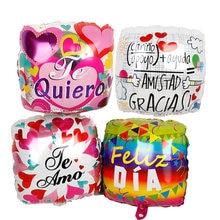 30 pçs 18 polegada espanhol feliz dia te amo forma quadrada balões de hélio mãe festa de aniversário suprimentos casamento amor globos mama presentes
