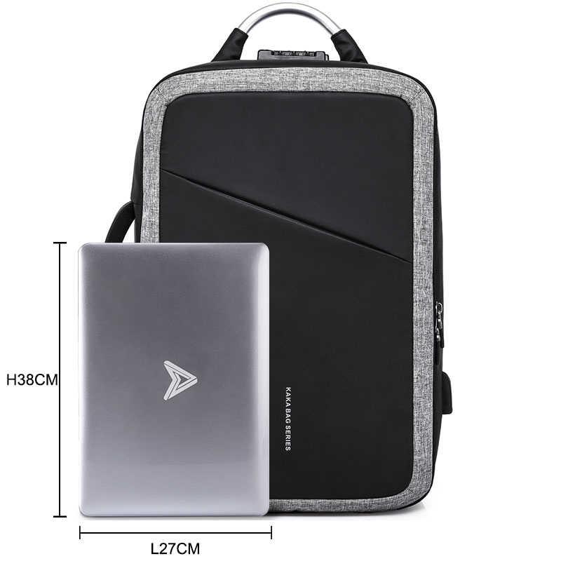 e8962f681324 KAKA TSA Anti theft Male Backpack NO Key USB 15.6 Laptop Bag Backpack  Schoolbag Men Waterproof Travel Backpacks Mochila backbag