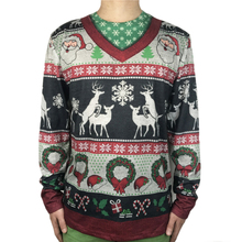 Tacky Reindeer Printed Ugly Christmas T Shirt for Men Funny Dirty Ugly Christmas T Shirts Long Sleeve Xmas Holiday Tee Plus Size plus size light up christmas ugly sweatshirt