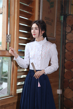 2016 Autumn Women Blouse Shirt Elegant Vintage Retro white Embroidery Stand  Collar Lantern Long sleeve Blusa Top