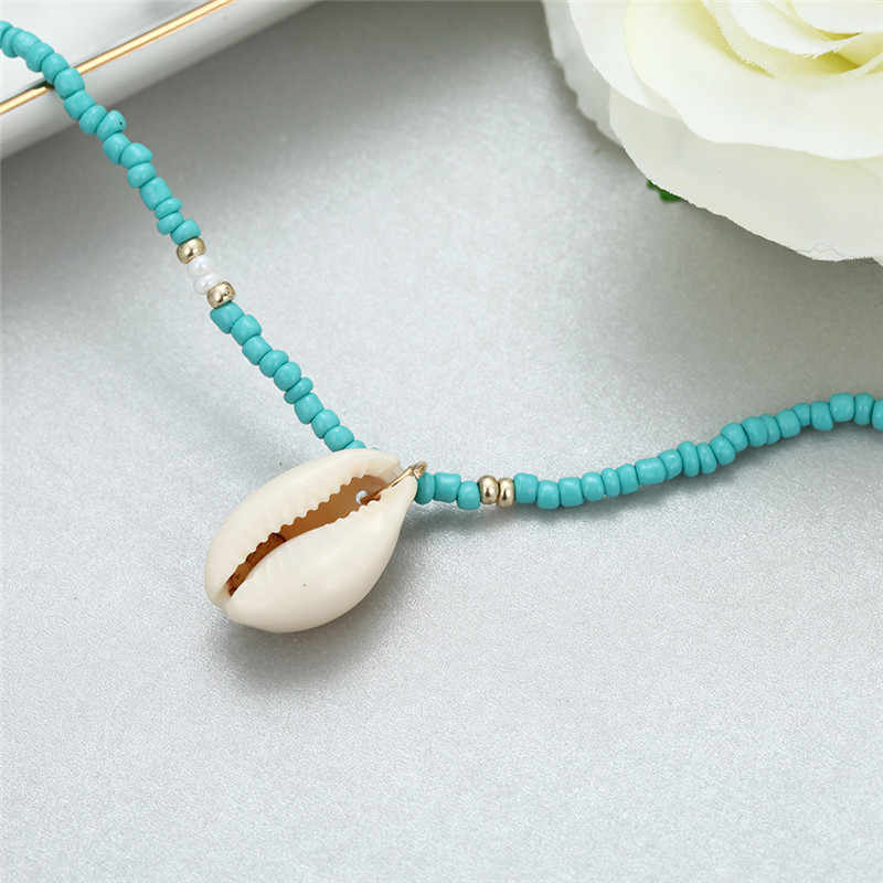 Классические индийские ювелирные изделия синий шарик цепи ожерелье Трендовое ожерелье женское Простое Ожерелье-чокер оптовая продажа богемное ожерелье