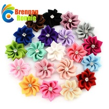 100PCS/Lot Polygonal Flower WITHOUT CLIP Handmade DIY Accessory Satin Ribbon Wedding Scrapbooking Embellishment Crafts Accessory