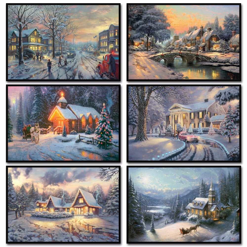 Sunny Thomas Kinkade Christmas Canvas Painting Home Decor Art Photos Fixing Prices According To Quality Of Products Hd Posters And Prints Wall Pictures For Living Room Poster