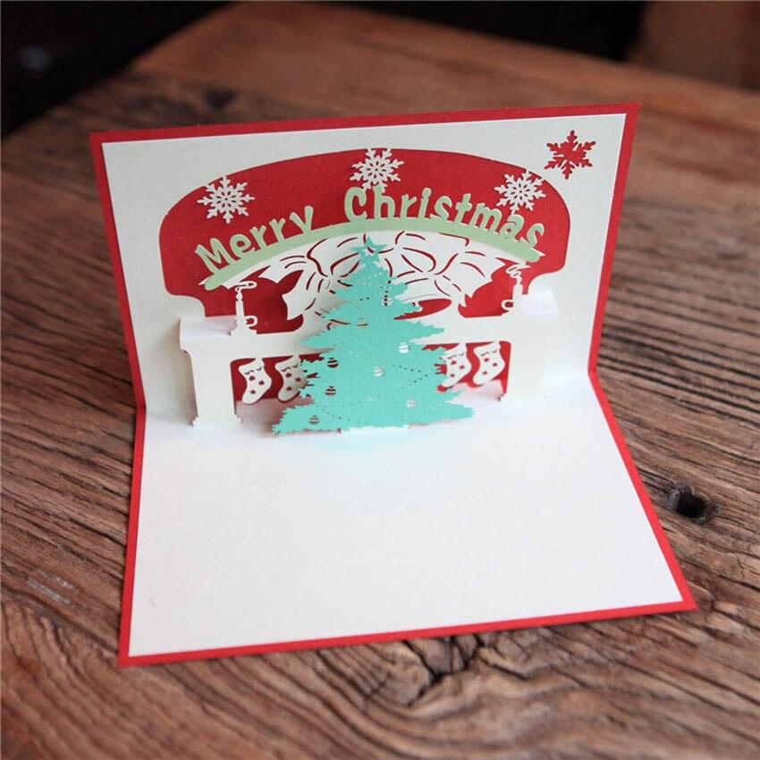 새해 인사말 카드 3D 수제 크리스마스 트리 팝업