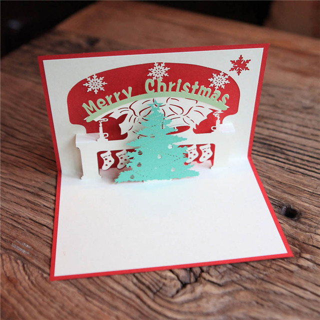 happy new year greeting card 3d pop up handmade christmas tree - 3d Greeting Cards