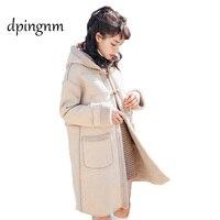 2017 whole skin natural Rex fur coat clothing women's winter hoodedlong jacket long sleeved outerwear coat large size