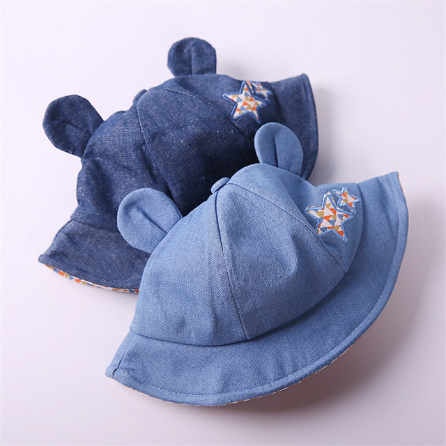 5cfa4a70eca MBBGJOY Baby Sun Hat 1-3Y Toddler Kids Spring Autumn Stars Embroidery  Fisherman Hats Cowboy Denim Cap Cute Bear Ears Jean Caps