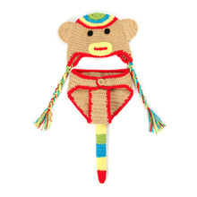 Ручного Вязания животных обезьяна hat костюм крючком идеальный фото propperfect фото prop