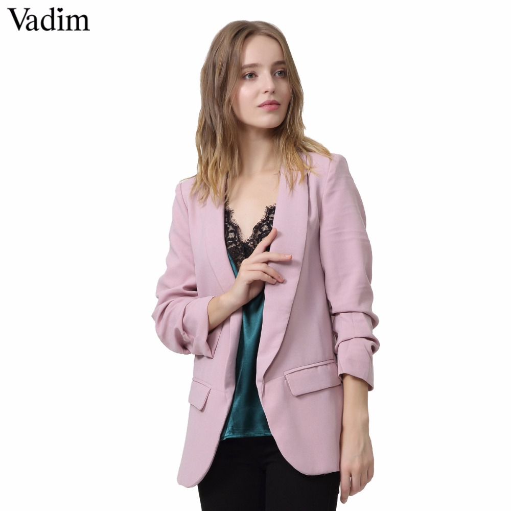 Vadim Women Elegant 4  Blazer Crimping Three Quarter Sleeve Outerwear Notched Pocket Office Casual Tops CT1504(China)