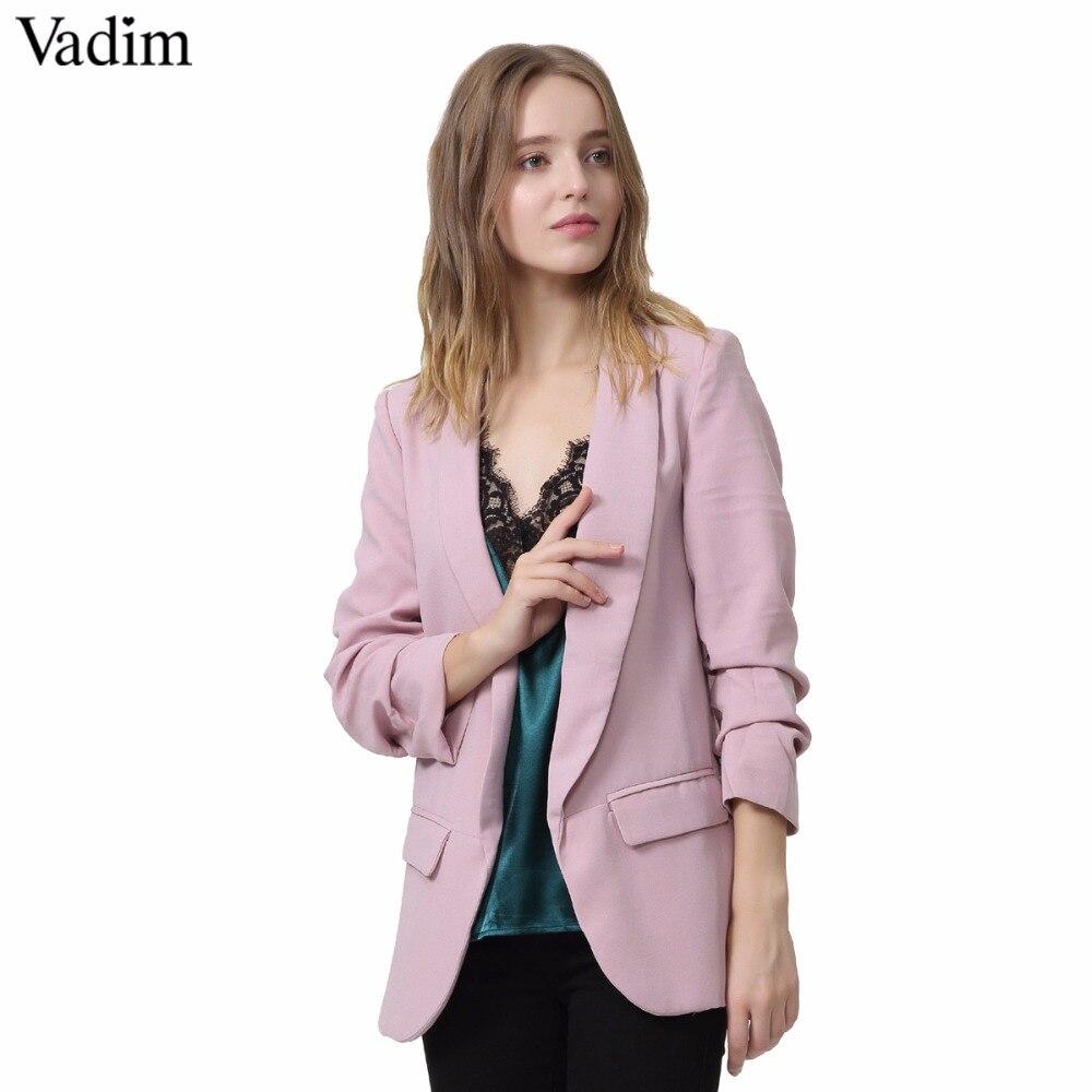 Casual Perle Tasten Schwarz Frauen Blazer Kerb Kragen Elegante Herbst Jacke Büro Damen Anzüge Outwear 2018 Hohe Qualität Anzüge & Sets Blazer
