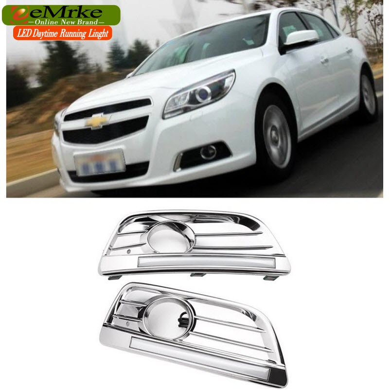 eeMrke Car LED DRL For Chevrolet Malibu 2013 2014 2015 2016 High Power Xenon White Fog Cover Daytime Running Lights Kits  недорого
