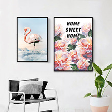 HAOCHU Canvas Aat Print Decorative Painting Europe and America Flamingo Flowers Letter Home Mural Wall Picture For Living Room