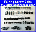 Good New Motorcycle Fairing common screws bolt for Hona CBR1000RR 2006 2007 CBR 1000RR 06 07 CBR 1000 black fairings bolts