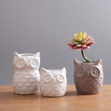Creative Ceramic Owl Shape Planters