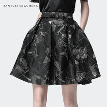 Jacquard Pleated Tutu Skirt Of Tall Waist Floral Printed Women Summer Stiff Above Knee Mini Jupe Suitable For Thick Thigh Ladies(China)