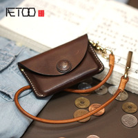 AETOO Original handmade retro cowhide leather compact card bag headset bag male models female coin change coin storage bag hard