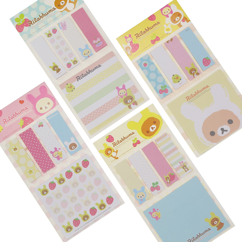 Kawarii Cartoon Rilakkuma Memo Notepad Note Book Memo Pad Sticky Notes Memo Set Gift Stationery Kcs