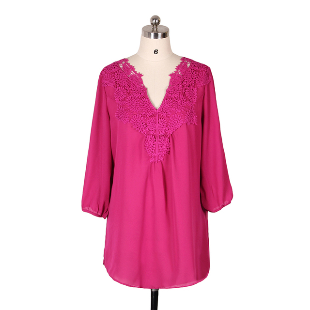 5XL Plus Size Tops Women Chiffon Blouse Shirt Lace Up Blouses V neck Loose Blusas Work Ladies Clothes Tunic 2017 Spring 3