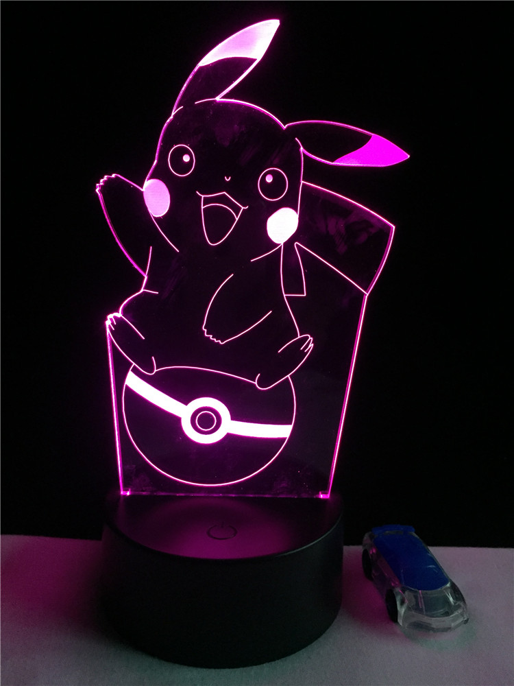 Luzes da Noite pokemon pikachu 3d atmosfera 7 Function 4 : Lampada Led/lamparas/led Lamp Indoor