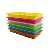 Quality 21 Cavities With Cover Lid Rectangular Shape Silicone Ice Cube Tray Mold Bar Wine Beer