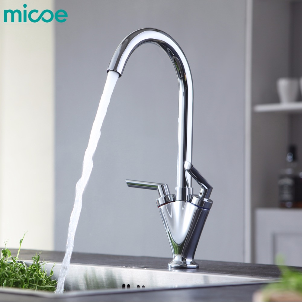 MICOE hot and cold water kitchen faucet double handle single hole 360 degree rotating faucet copper chrome mixer M-HC105 micoe hot and cold water basin faucet mixer single handle single hole modern style main body copper multi function tap m hc204