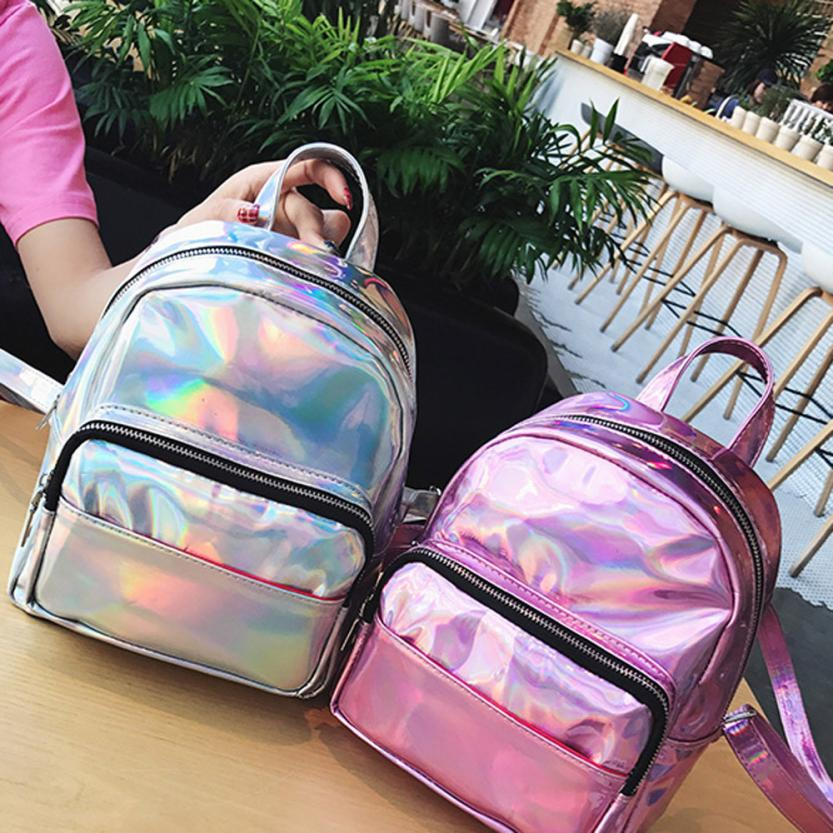 9ec866a160 2018 New women hologram backpack laser daypacks girl school bag female  silver pu leather holographic bags big medium small no28-in Backpacks from  Luggage ...