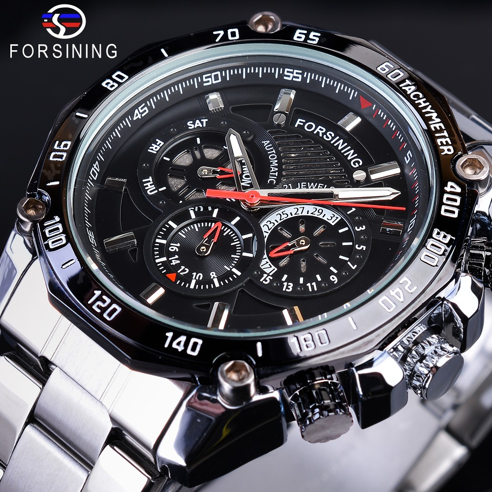 Forsining Steampunk Luminous Hands Complete Calendar Men's Automatic Watches Top Brand Luxury Silver Stainless Steel Bracelet