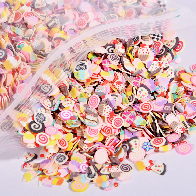 Wholesale 20000 Pieces/Bag Fimo Clay 3D Fruit Flowers Animals DIY 3D Nail Art Decorations Ultra-thin Nails Art Sticker Design цена