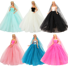 Doll China Clothes Skirt Dressing Dress Birthday Party Princess For barbies Toys Wedding White Costume Girls Accessories 2019