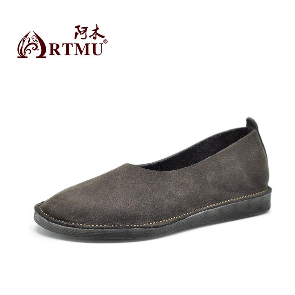 Artmu オリジナル新レトロ和風フラットシューズ快適なソフト唯一の本物の革の怠惰な靴手作りシンプルな女性フラット  グループ上の 靴 からの レディースフラット の中 2