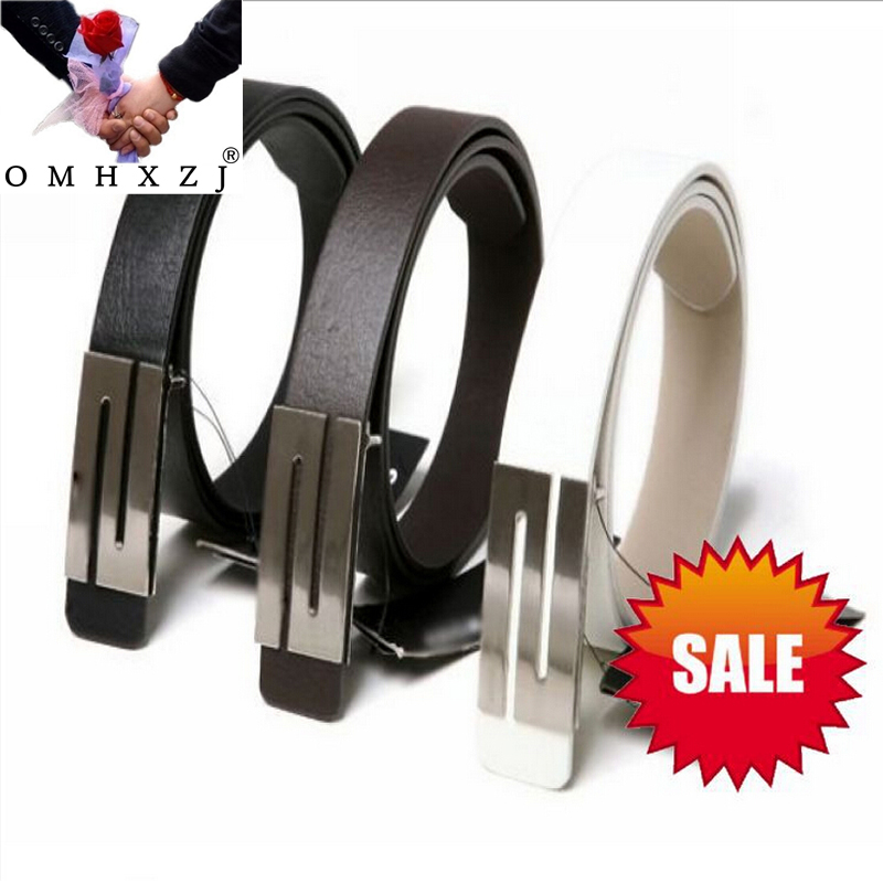 OMH Wholesale Black Coffee White Fashion S Shape Buckle Smooth Buckle The Gentleman British Wind PU Leather Men's Belts PD21