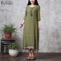 Cotton Linen Retro Dress 2015 Autumn Women Fashion Casual Loose O Neck 3 4 Sleeve Long