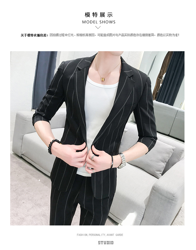 HTB1u7jmRpzqK1RjSZFCq6zbxVXaS custom Small Size Men's Wear Summer 2019 New Men's Middle Sleeve Suit Stripe Two piece Fashion Japanese Slim Suit