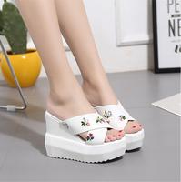 Thick Soles Slippers Female Summer 2017 Han Edition Fashion Wear Waterproof Sexy Slippers 12CM Super High