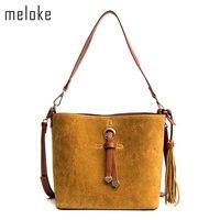 Meloke 2018 high quality women seude bucket bags set tassel women cross body bags patchwork winter bags drop shipping MN830