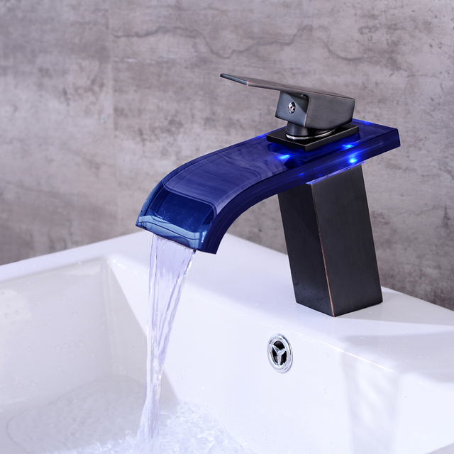 Bathroom Waterfall Faucet LED Faucet. Glass Waterfall Brass Basin ...