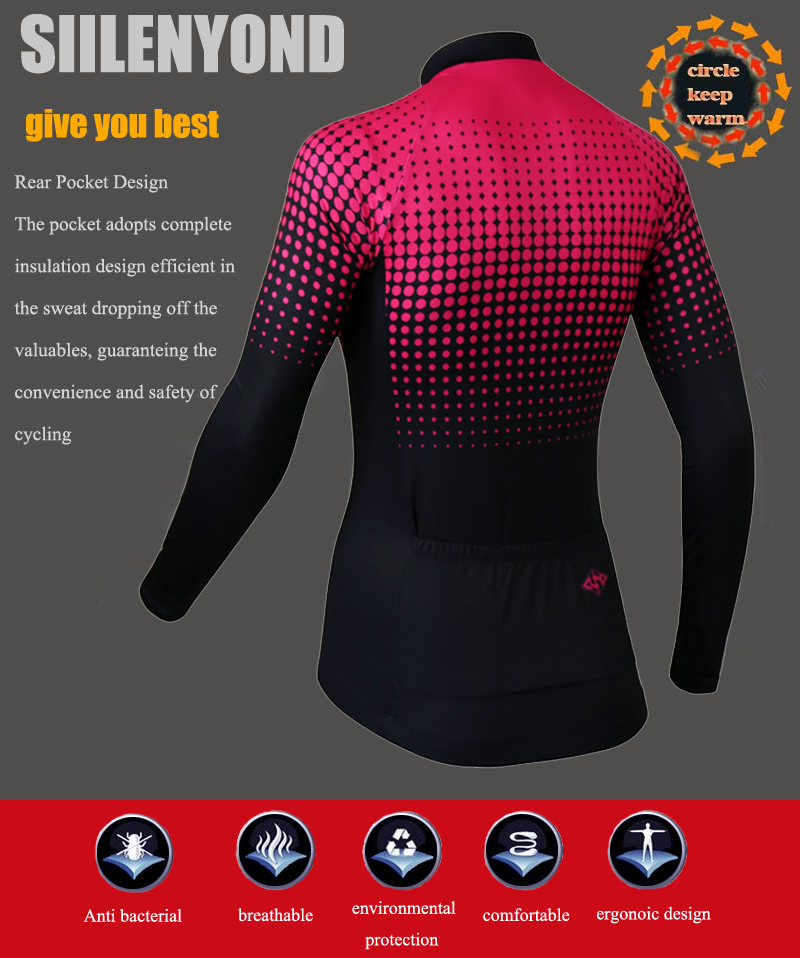 Siilenyond 2019 Women Winter Long Sleeve Cycling Jersey Keep Warm MTB Bicycle Cycling Clothes Thermal Fleece Cycling Clothing 6