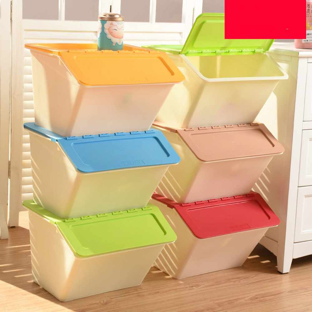 Plastic cover storage box baby clothes toy snacks flip cover storage box children storage box LM7161050