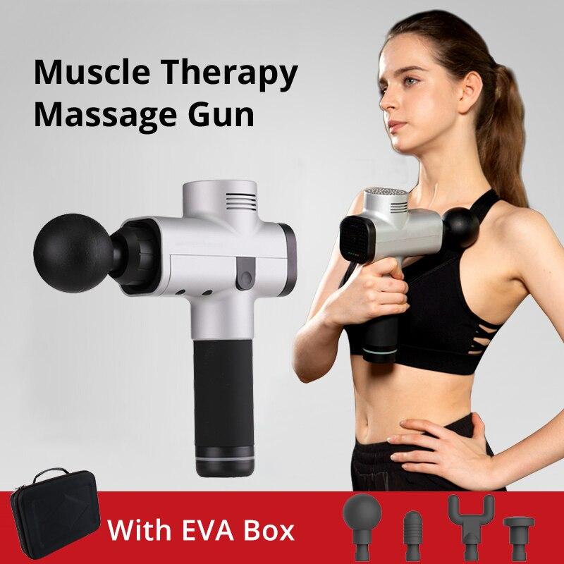 Pistola de masaje térmico muscular para aliviar el dolor después de hacer Ejercicio 3 niveles de velocidad bajo ruido 4 cabezales de masaje muscular terapia de tejido