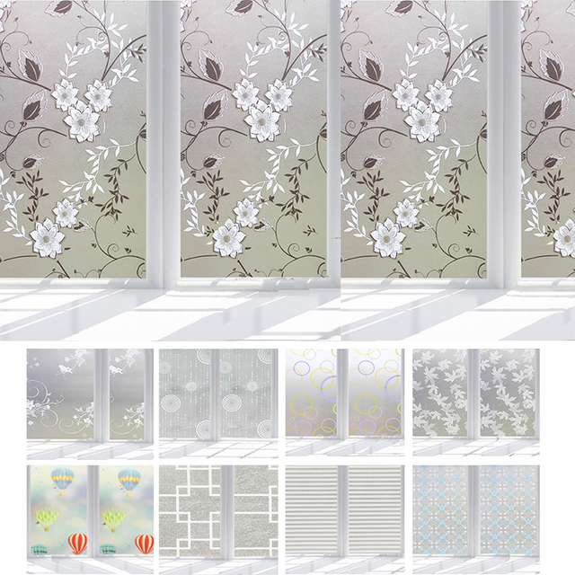Waterproof PVC Matte Glass Privacy Window Film Stickers Bedroom Bathroom  Self Adhesive Tapes Home Decorative
