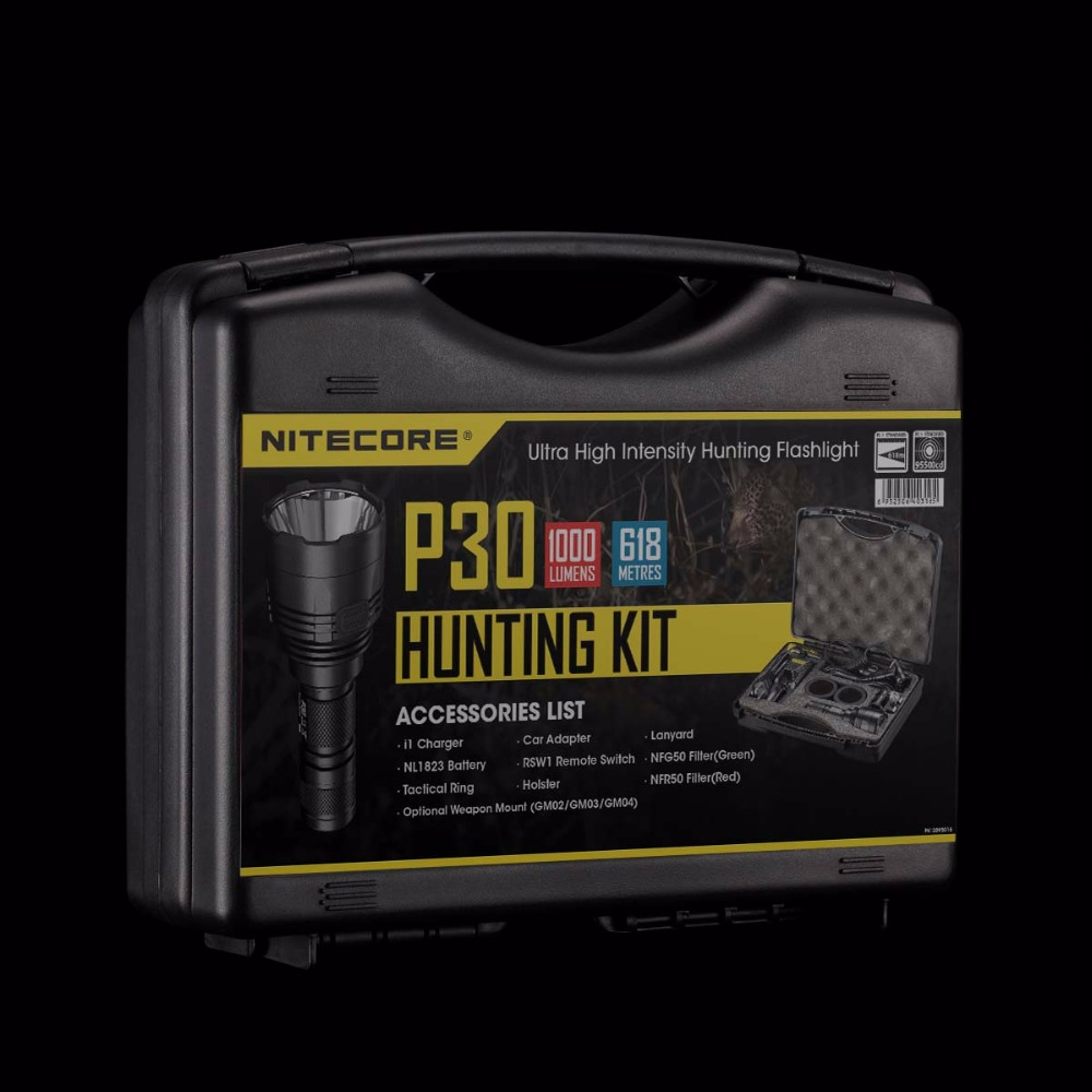 NITECORE 1000lumens CREE XP-L HI V3 LED P30 HUNTING KIT WITH I1 Charger+18650 Battery Military Search Flashlight Lantern BoxSets new nitecore 1000lm xp l hi led white light with rechargeable battery gear outdoor search r40 flashlight hand lamp free shipping