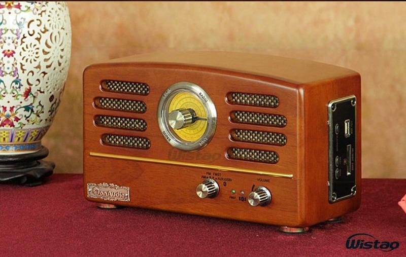 Retro Wooden HIFI Radio AM/FM 8W Max Mini Desktop Speakers
