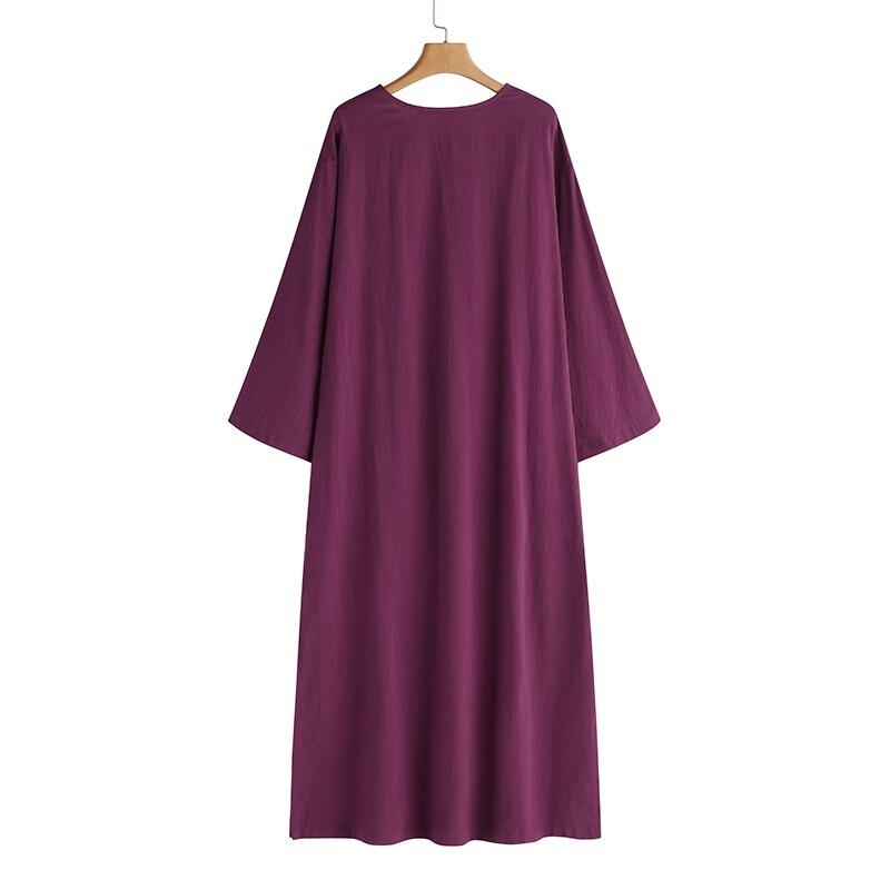 Women Vintage Maxi Long Dress 19 Celmia Summer Autumn Sexy V Neck Long Sleeve Split Casual Loose Linen Vestidos Kaftan S-5XL 17