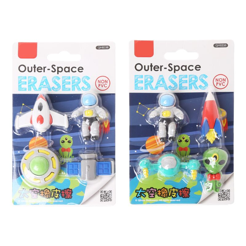 4pcs/set Creative Flying Saucer Alien Spaceship Shaped Rubber Pencil Eraser Kids