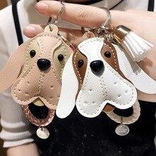 Fancy Cute Dog Animal Keychain PU Leather Trinket Braided Rope Handmade Key Ring Car Keyring Bag Pendant Charms Key Chain