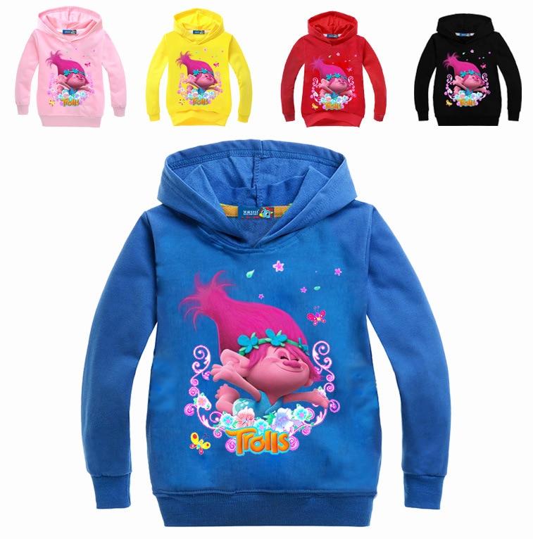 Z & Y весна/осень тролли партии Poppy костюм для Толстовки с капюшоном для девочек одежда Детская толстовка для мальчиков с капюшоном мультфиль...