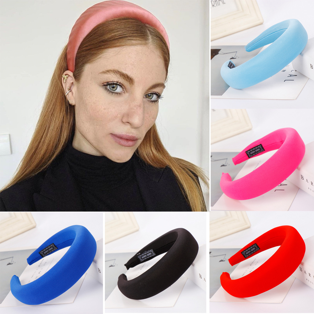 Women   Headwear   Girls Headband Women Thick Hairband Ladies Multicolor Candy-colored Velvet Net Retro Large Velvet Headband