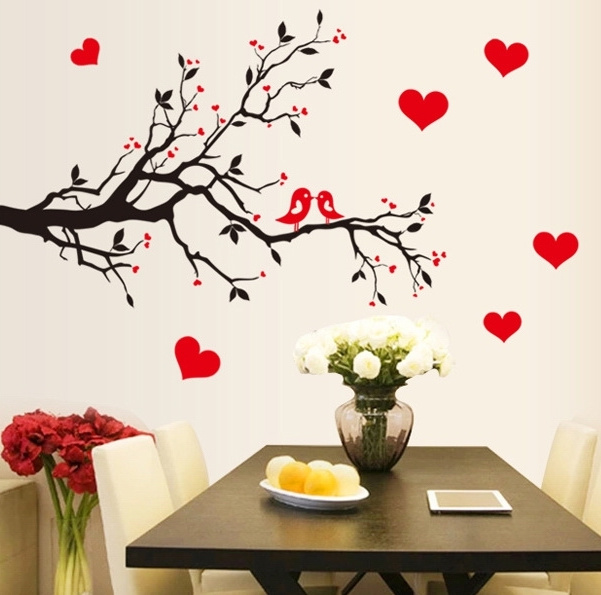 black red love hearts birds tree branch wall stickers women bedroom