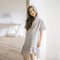 Hooded Baby Girls Dress Summer 2018 Spring Lace Ruffles Knee Length Teenagers Dress Girls Princess With